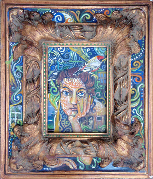 "Intricate Self Portrait, Acrylic on Wood & Frame, 11x13"", 2011"
