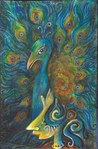 "Pondering Peacock,  Acrylic on Wood, 6x10"", 2010"